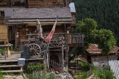 Village in the Swiss Alps in Valais stock images