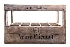 Veuve Clicquot 15 bottle wooden champagne crate on a white background Royalty Free Stock Photo