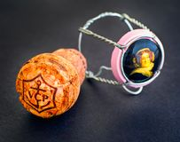 Veuve Clicquot Champagne cork and muselet with cap. Black backgr Stock Photography