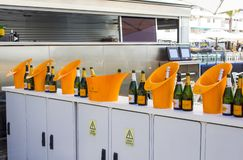 Veuve Cliquot Champagne bottles and ice buckets on display. 2 October 2018. A row of Veuve Cliquot Champagne bottles and ice buckets on display in a wine bar at royalty free stock image