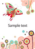 VeVector abstract butterfly and flowers Royalty Free Stock Image