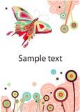 VeVector abstrakt fjäril och blommor Royaltyfri Bild