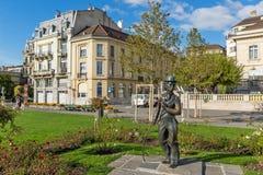 VEVEY, DIE SCHWEIZ - 29. OKTOBER 2015: Charlie Chaplin-Monument in der Stadt von Vevey, die Schweiz Stockfotos