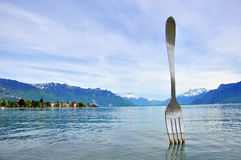 Vevey fork sculpture. In Switzerland Stock Images