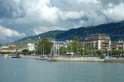 Vevey at Geneve lake in Switzerland Royalty Free Stock Photos
