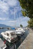 Vevey La Tour marina, Switzerland stock photography