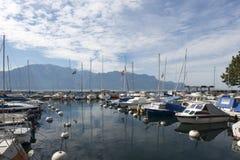 Vevey La Tour marina, Switzerland royalty free stock photos
