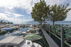 Vevey La Tour marina, Switzerland stock images