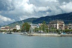 Vevey på Geneve sjön i Schweiz Royaltyfria Foton
