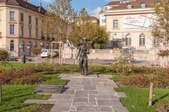 VEVEY, SVIZZERA - 29 OTTOBRE 2015: Paesaggio dell'argine in Vevey, Cantone di Vaud Immagini Stock Libere da Diritti
