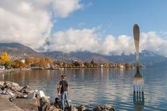 VEVEY, SVIZZERA - 29 OTTOBRE 2015: Vista panoramica di Vevey e del lago Lemano Immagine Stock Libera da Diritti