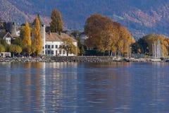 VEVEY, ZWITSERLAND - 29 OKTOBER 2015: Panorama van Vevey, Zwitserland Stock Foto
