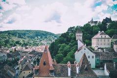 Vew от башни города Sighisoara, Трансильвании, Румынии Стоковые Изображения RF