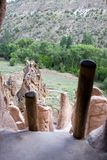 A vew from an ancient cave dwelling. Bandelier national monument Stock Photography