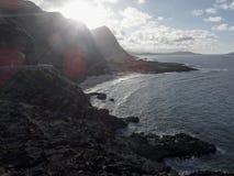 Vew av ön för Makapu 'u-strand på nolla-'ahu, Hawaii arkivbilder