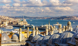 Vew of the Bosphorus strait from the Sueymaniye Mosque in Istanb Stock Photo