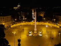 Vew da noite de Piazzo Popolo Imagem de Stock