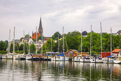 Vew of harbour in Flensburg city, Germany Stock Image