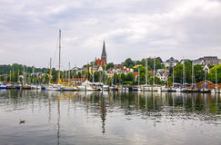 Vew of harbour in Flensburg city, Germany Royalty Free Stock Images