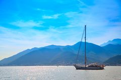 Vew of the Kotor Bay with yacht Stock Photography
