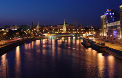 Vew of Moscow Kremlin at night Stock Photos
