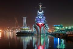 Vew of night port Novorossiysk royalty free stock photography