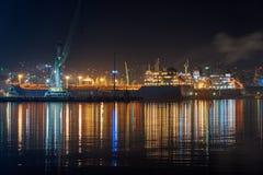 Vew of night port Novorossiysk royalty free stock image