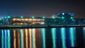 Vew of night port Novorossiysk stock photography