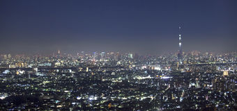 Vew of night Tokyo with Sky Tree Royalty Free Stock Photography
