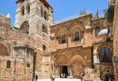 Free Vew On Main Entrance To The Church Of The Holy Sepulchre In Old City Stock Photography - 154099362