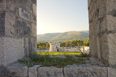 Vew of St. Mark tower from Kamerlengo castle in Trogir Stock Photos