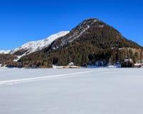 Vew in Tavate, Svizzera di orario invernale Fotografia Stock