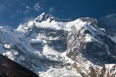 Vew of top Annapurna 2 II from Upper Pisang Royalty Free Stock Photo