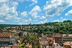 Vew vom Turm der Stadt von Sighisoara, Siebenbürgen, Rumänien stockfotografie