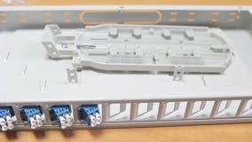 Vezel optisch apparaat stock footage