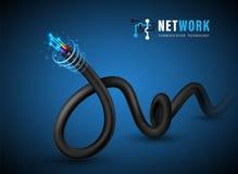 Vezel optische kabel voor vezel optisch concept en adverterende communicatiediensten vector illustratie