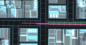 Vezel optische kabels die informatie dragen naar de gebouwen van de gloed wireframe stad stock video