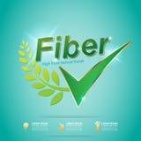 Vezel in Voedsel Slanke Vorm en het Etiketvector van het Vitamineconcept vector illustratie