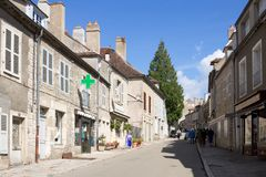 The main street in Vezelay Abbey in France. Vezelay is a commune in the Yonne department in Burgundy. It is a defendable hill town famous for Vezelay Abbey. The royalty free stock photos