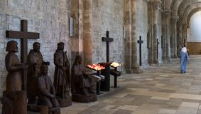 Nun in Church Abbey Vezelay royalty free stock photography