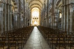 Church Interior in Vezelay in Morvan royalty free stock image