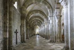 People visiting the Benedictine abbey church of Vezelay, France stock photography