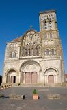 Vezelay, France. Romanesque cathedral of St. Mary Magdalene in Vezelay Abbey in Burgundy, France. The cathedral and the Vezelay hill are enrolled on the UNESCO Royalty Free Stock Photo