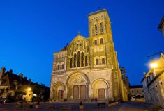 Vezelay, France. Romanesque cathedral of St. Mary Magdalene in Vezelay Abbey in Burgundy, France. The cathedral and the Vezelay hill are enrolled on the UNESCO Stock Image