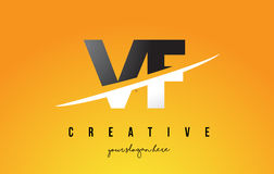 VF V F Letter Modern Logo Design with Yellow Background and Swoo. VF V F Letter Modern Logo Design with Swoosh Cutting the Middle Letters and Yellow Background Royalty Free Stock Photos