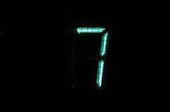 VFD digit. Vintage vacuum fluorescent display (VFD) digit 7 Stock Photo