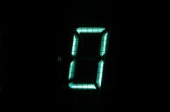 VFD digit. Vintage vacuum fluorescent display (VFD) digit 0 Stock Photography
