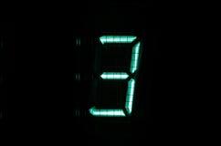 VFD digit. Vintage vacuum fluorescent display (VFD) digit 3 Stock Images