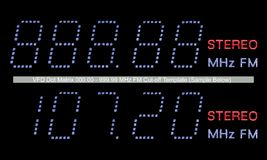 VFD Dot Matrix FM Radio Display Macro In Blue Stock Images