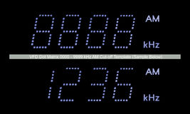 VFD Dot Matrix AM Radio Display Macro, Blue Large Detailed Isolated Template Closeup, Black Background Royalty Free Stock Image